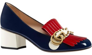 Gucci America Logo Marmont 38 Blue Navy/Red/White Pumps