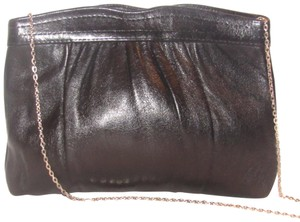 Ande' Mint Vintage Italian Workmanship Early Style Two-way Style Gold Chain Strap supple black leather Clutch
