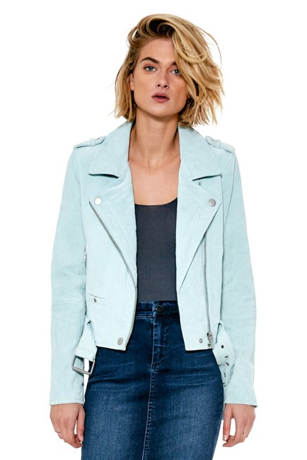 Item - Mint Green Morning Suede Leather Belted Jacket Size 12 (L)