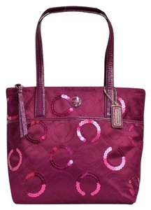 Coach New Sequin Limited Edition Tote in Passion Berry Purple