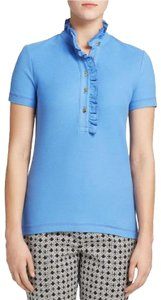 Tory Burch New Spring Polo New Summer Polo New Spring Cotton Spring Cotton Summer Cotton Button Down Shirt blue