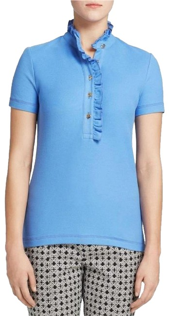 Item - Blue W New Tag Lidia Ruffle Trim Cotton Short Sleeve Marina Button-down Top Size 8 (M)
