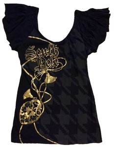 South Pole Collection Top black and grey with gold design