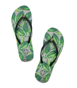 Tory Burch Black Green White Sandals