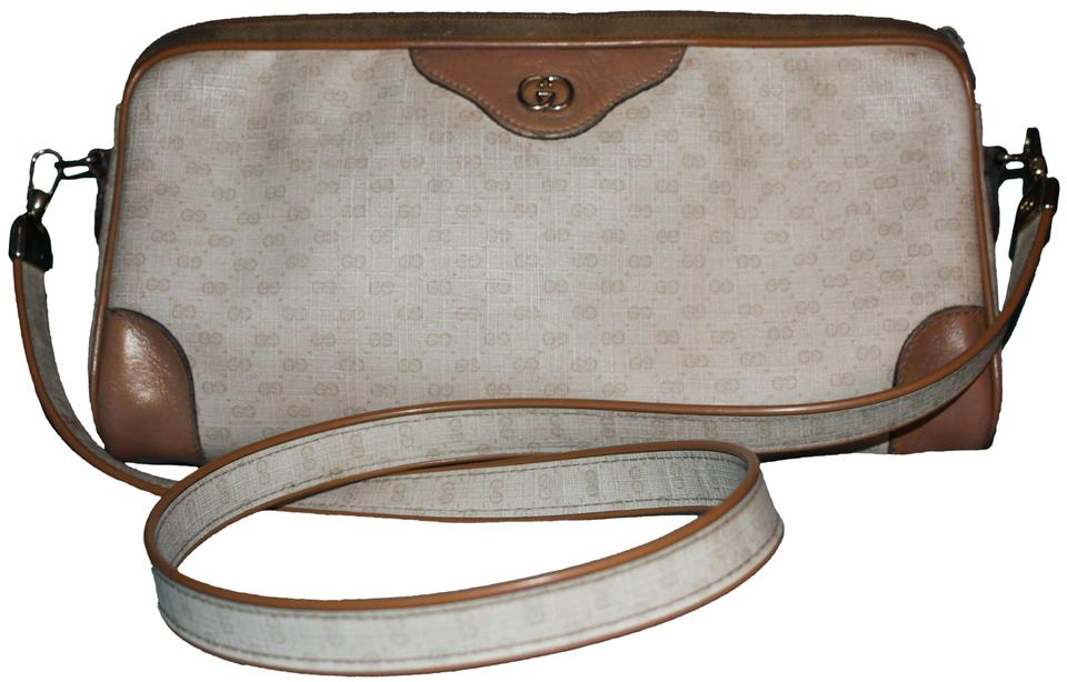 fcc5d995cdf Gucci Ship Next Day Vintage Cream and Camel Coated Canvas   Leather ...