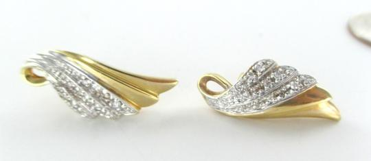 Other 14KT YELLOW GOLD EARRINGS WINGS FAN DESIGN 22 GENUINE DIAMONDS .50 CARAT 6.5 GR