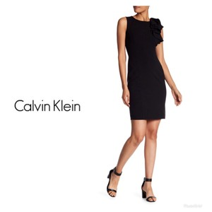 Calvin Klein Ruffle Sheath Sleeveless Dress