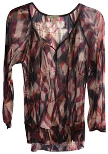Weston Wear Top plum black and burnt orange print