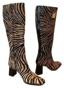 Escada Leather Tiger Print Boots