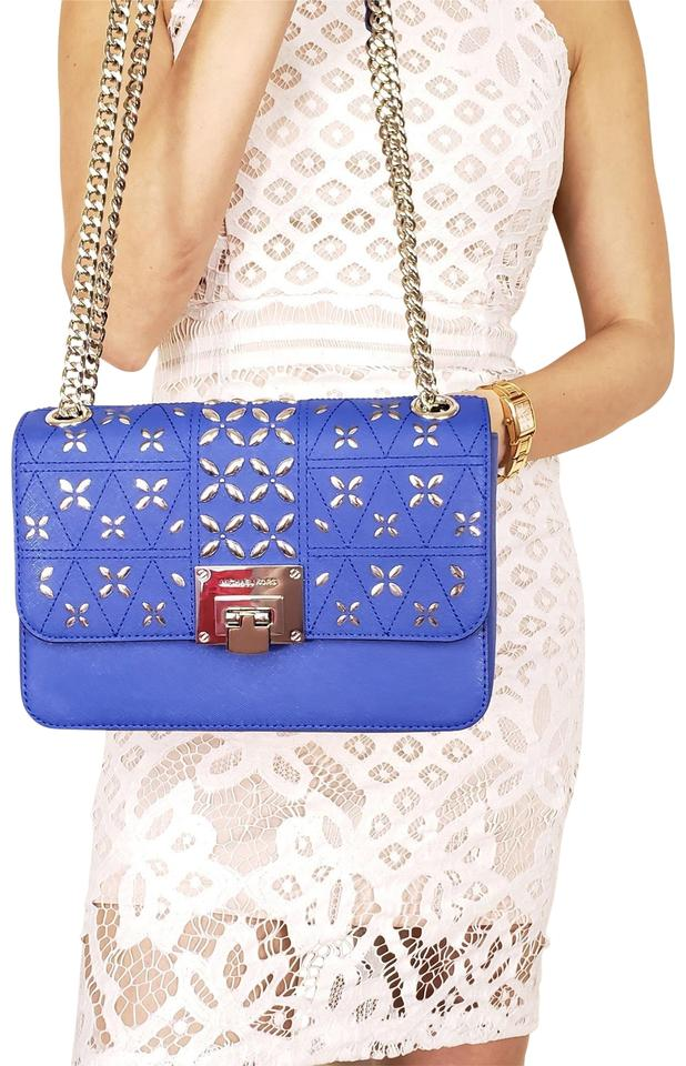 0bb8e0b710b0 Michael Kors Medium Leather Crossbody Electric Blue Shoulder Bag ...