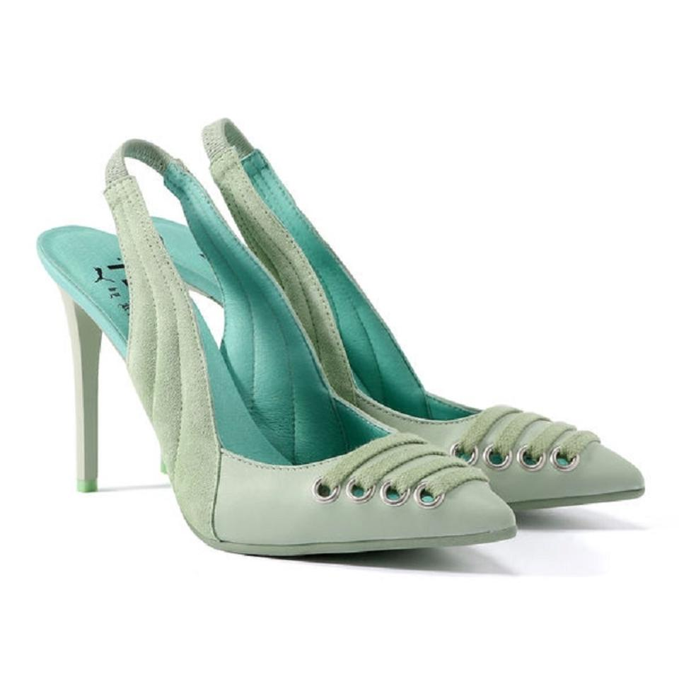 FENTY PUMA by Rihanna Suede Leather Slingback Stiletto Smoke Green Pumps ... 6c9be1fdda