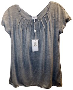 Armani Collezioni Gray Mist Pleated Top Silver