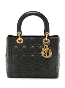 Dior Lambskin Christian Lady Black Tote in Red