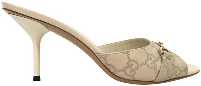 Item - Gray/White Embossed Monogram Sandals Mules/Slides Size EU 38.5 (Approx. US 8.5) Regular (M, B)
