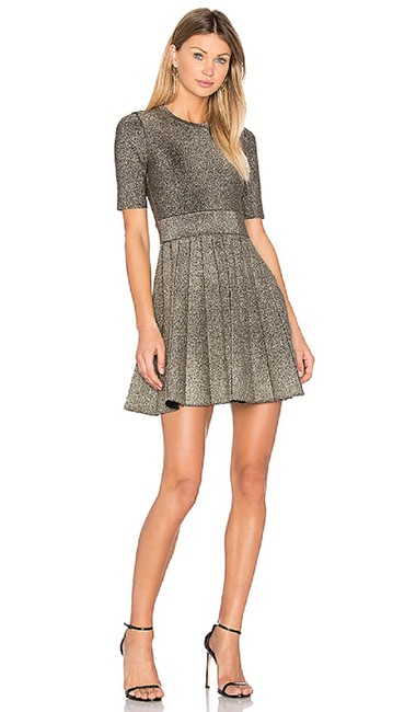 A L C Metallic Gold Susana Fit And Flare Knit Short