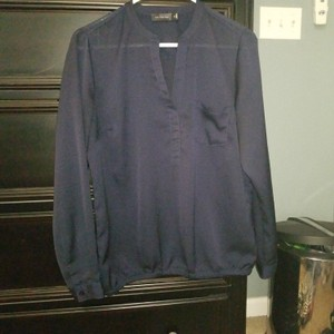 The Limited Top Navy blue blouse