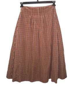 Lilith Retro Checked Velveteen Cotton Skirt