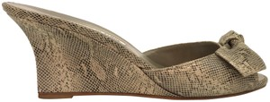 Manolo Blahnik Mules Bow Lizard Peep Toe Gray Wedges