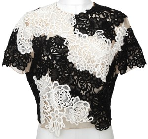 ERDEM Lace Shirt Short Sleeve Top Black, White, Nude