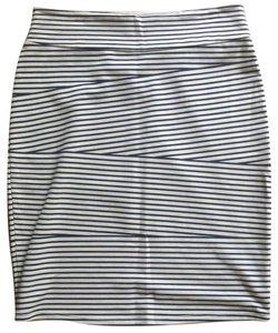 Brooklyn Industries Bodycon Asymmetrical Striped Stretchy High Waisted Skirt grey