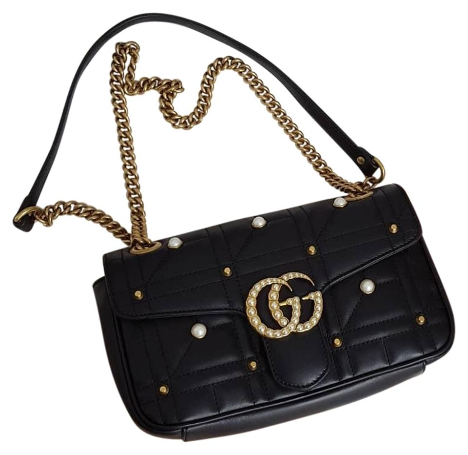 32c8fa72cfb4 Gucci Marmont Gg Pearl Black Lambskin Leather Cross Body Bag - Tradesy
