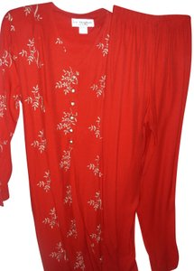 Lew Magram Asian Indian inspired ethnic red coat dress long tunic gold metallic