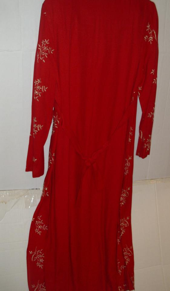 5903119f32a Lew Magram Asian Indian inspired ethnic red coat dress long tunic gold  metallic Image 6. 1234567