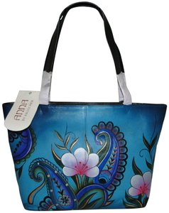 Anuschka Paisley Floral Denim Hand Painted Tote in Blue