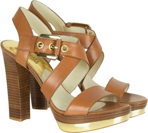 Michael Kors Gold Sandals Leather Brown Platforms