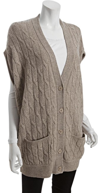 Item - Heather Camel Wool Blend Oversize Cable Sweater Cardigan Size 4 (S)