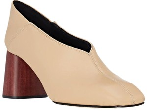 Helmut Lang Fold-down Blocky Chunky Wood Nude Mules