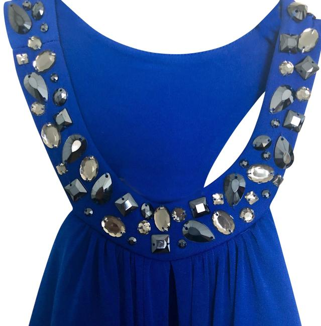 Laundry by Shelli Segal Blue Crystal Sexy Back Gown Long Formal Dress Size 6 (S) Laundry by Shelli Segal Blue Crystal Sexy Back Gown Long Formal Dress Size 6 (S) Image 1