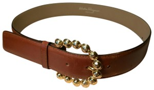 Salvatore Ferragamo Gold Tone Cluster Buckle Brown Leather Belt