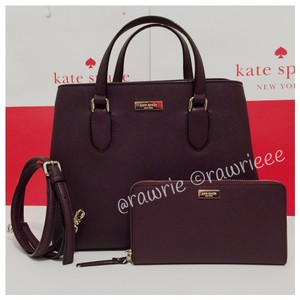 Kate Spade Set Matching Set Gift Set Burgundy Saffiano Leather Satchel in Brown