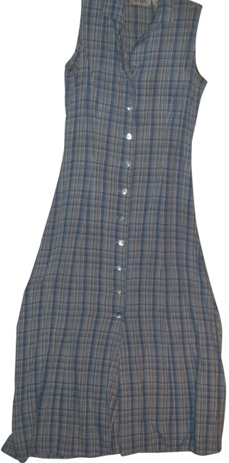 Item - Blue Gingham Check Textured Knubby Silk Sleeveless Long Casual Maxi Dress Size 6 (S)