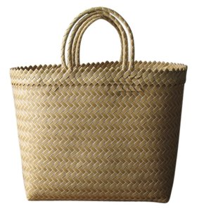 Tote Market Plastic Yellow and White Beach Bag
