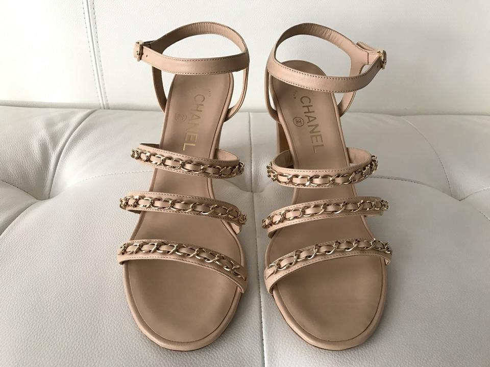 10d1f9e92858 Chanel Beige Leather Gold Chain Sandal Sandals Open Pumps Size EU 38 ...