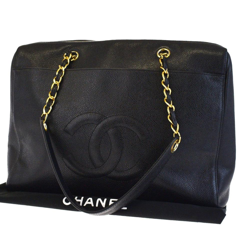 09b30e81f1db Chanel Shopping Black Caviar Leather Tote - Tradesy