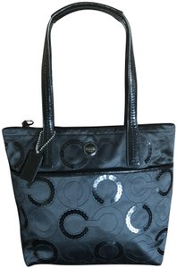 Coach Sequin Patent Tote in Black
