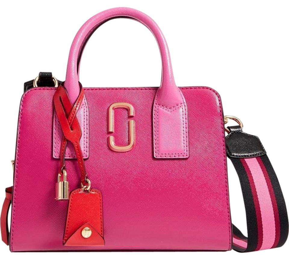170e1419293 Marc Jacobs Tote Bag Little Big Shot Pink Hibiscus Saffiano Leather Satchel
