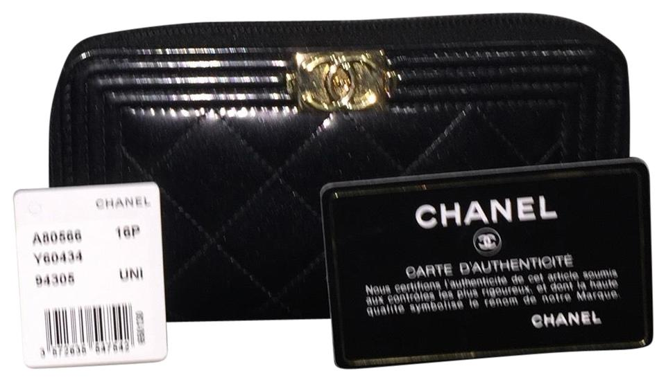 023ae281501d Chanel Black Boy Small Zipped Zip Around Zippy Metallic Patent Coin Purse  Card Holder Ghw Wallet