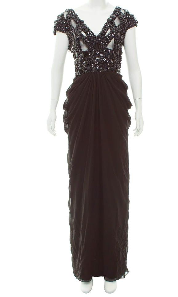 Elie Saab Black Studded Silk Gown Long Formal Dress Size 16 Xl