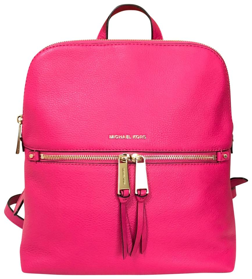 bb9a9ee117ef MICHAEL Michael Kors Rhea Medium Slim Ultra Pink Leather Backpack ...