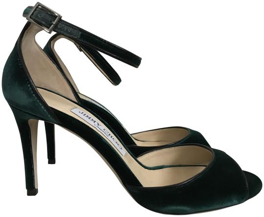 Preload https://img-static.tradesy.com/item/23390867/jimmy-choo-dark-green-annie-85-bottle-velvet-ankle-strap-heels-sandals-size-eu-365-approx-us-65-regu-0-1-540-540.jpg