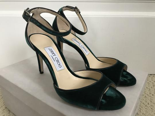 Jimmy Choo Velvet Ankle Strap Open Toe Dark Green Sandals