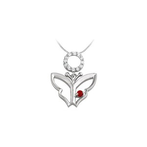 Marco B Butterfly Pendant Necklace with Created Ruby and Cubic Zirconia in 14k