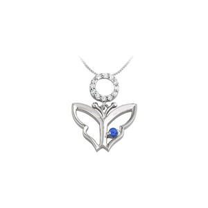 Marco B Butterfly Pendant Necklace with Created Sapphire and Cubic Zirconia in