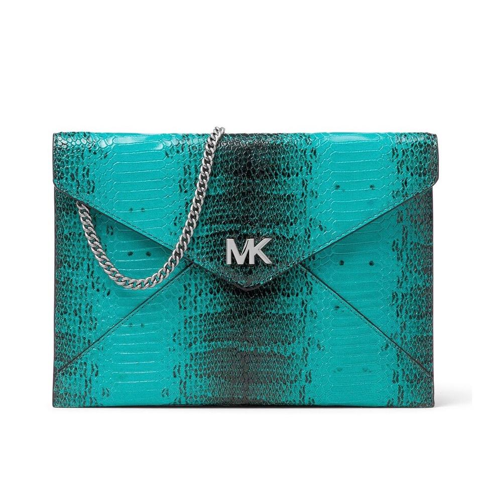 f7af9075790d MICHAEL Michael Kors Barbara Medium Soft Envelope Tile Blue Embossed ...