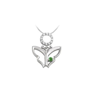 Marco B Butterfly Pendant Necklace with Cubic Zirconia and Created Emerald in
