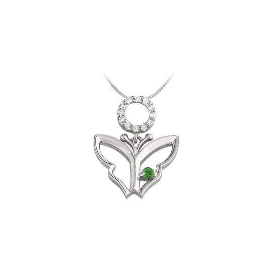 Preload https://img-static.tradesy.com/item/23390924/green-white-gold-butterfly-pendant-with-cubic-zirconia-and-created-emerald-in-necklace-0-0-540-540.jpg